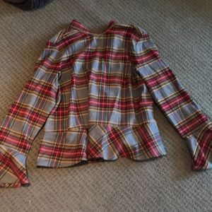 Plaid top with bell sleeve
